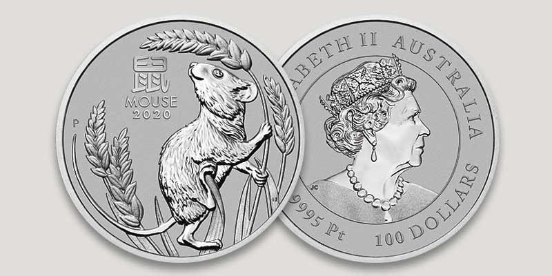 Lunar Serie III 1 oz Motiv- und Wertseite Platinmünze
