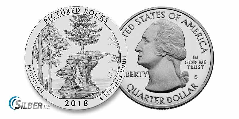 "America the Beautiful: Pictured Rocks National Lakeshore"", Michigan 5 oz Silbermünze"