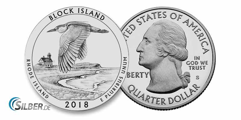 "America the Beautiful: Rhode Island - Block Island National Wildlife Refug"" - 5 oz Silbermünze"