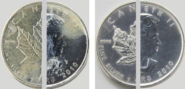 Silber Reinigen milchflecken auf silbermünzen entfernen
