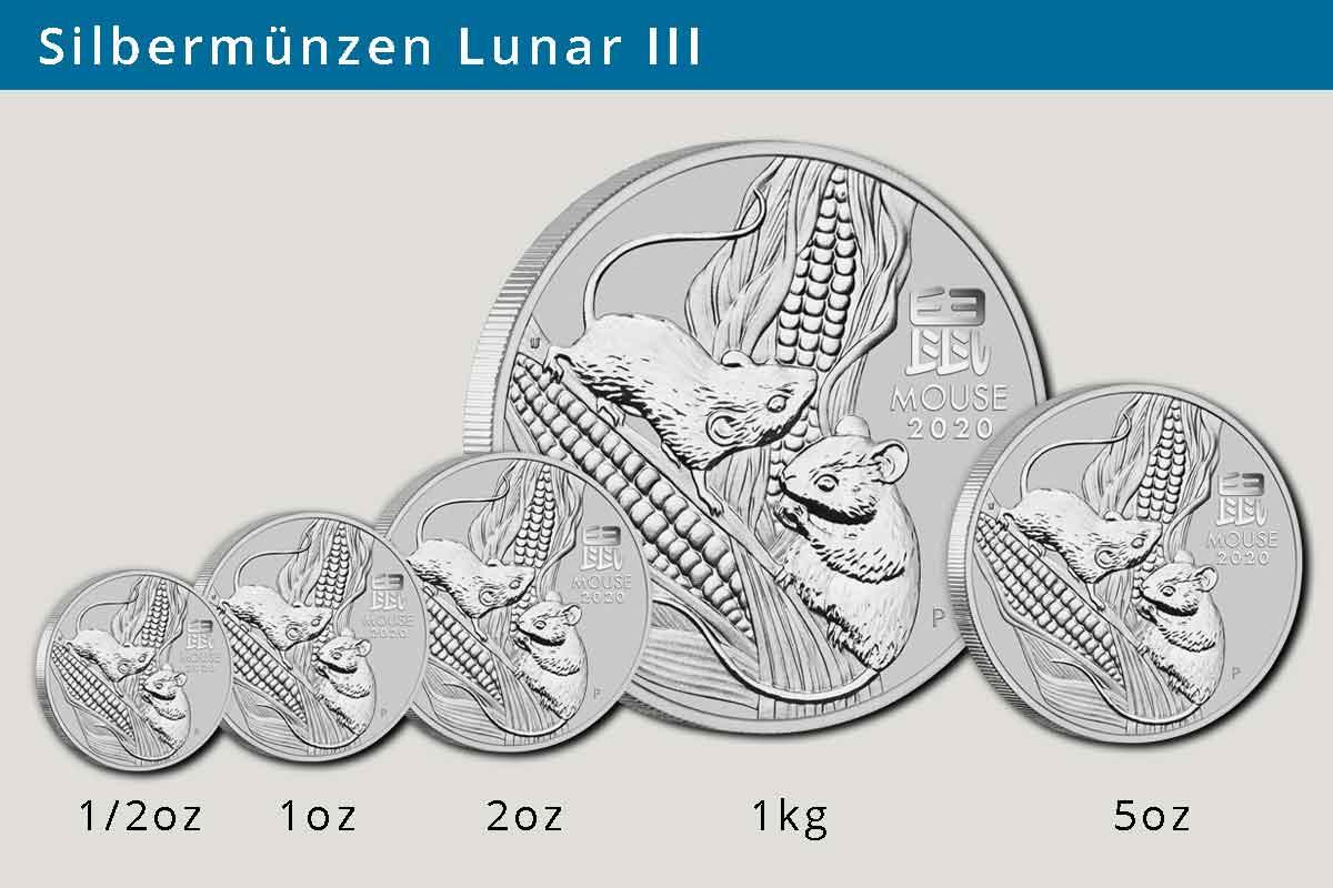 Silbermünzen größen der Lunar III Serie